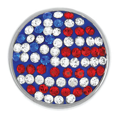 Diva Dot Snap Button, American Flag Rhinestone