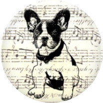Diva Dot, Boston Terrier w/ Music Notes, Glass