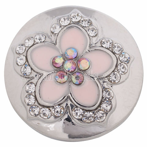 Diva Dot Snap Button, Pink Flower With Crystals