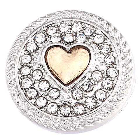Diva Dot Snap Button, Gold Heart, W/ Crystals
