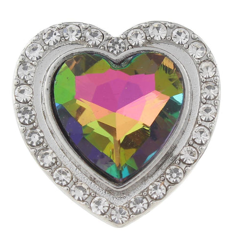 Diva Dot Snap Button, Multi-Color Shape Heart