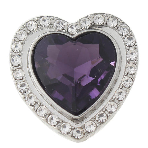 Diva Dot Snap Button, Purple Shape Heart