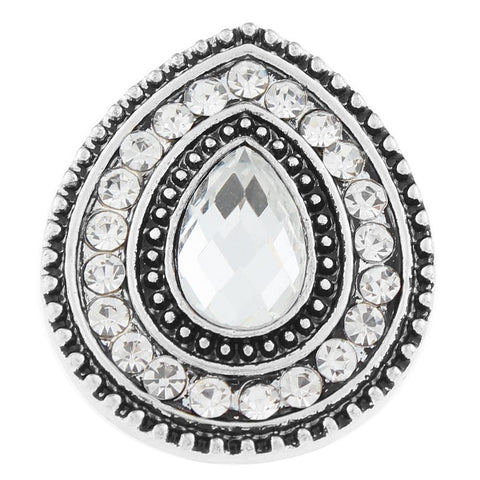Diva Dot Snap Button, Crystal Tear Drop