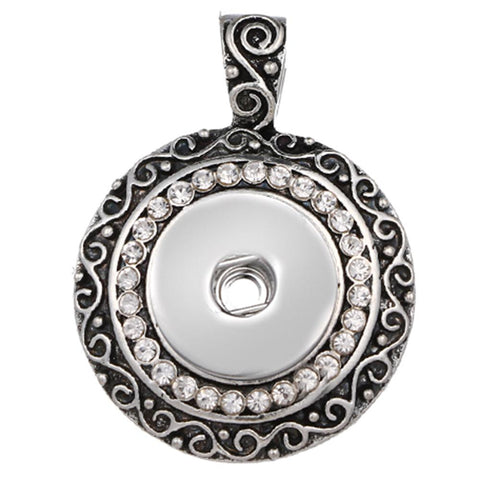 Snap Button Pendant, With Crystals