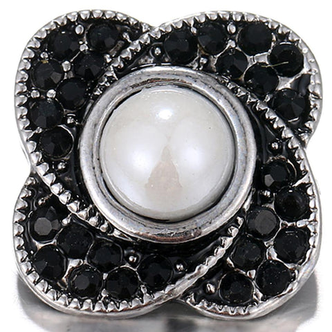 Diva Dot Snap Button, Decorative Black Crystal
