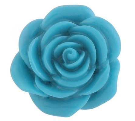 Diva Dot Snap Button, 3-D Rose, Blue