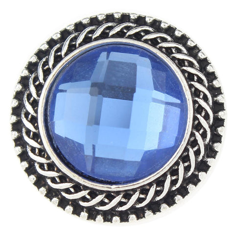 Diva Dot Snap Button, Decorative Blue Crystal