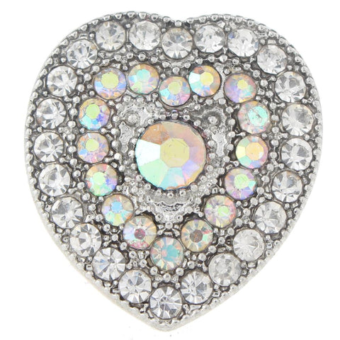 Diva Dot Snap Button, Crystal Heart Shaped, Opaque