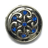 Diva Dot Snap Button Blue Crystal Pin Wheel