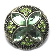 Diva Dot Snap Button, Green Crystal Flower