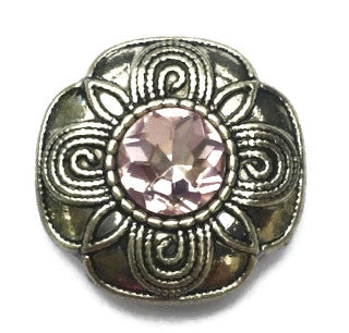 Diva Dot Snap Button, Silver Flower with Pink Crystal Center