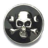Diva Dot Snap Button, Silver Skull w/ Black Background