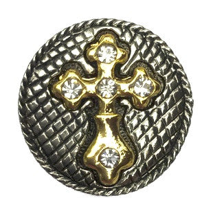 Diva Dot Snap Button, Two Tone Cross w/ Crystals