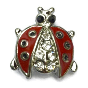Diva Dot Snap Button, Lady Bug w/ Crystals