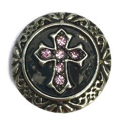 Diva Dot Snap Button, Antiqued Cross with Pink Crystals