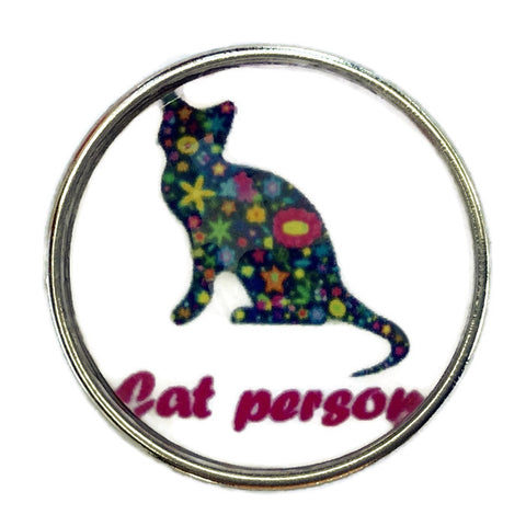Diva Dot Snap Button, Cat Person, Glass