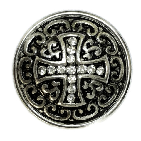 Diva Dot Snap Button, Cross with Crystals