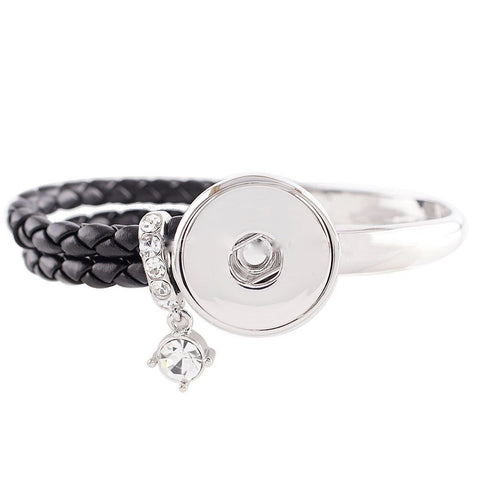 Snap Button Bracelet, Leather Metal Combo with Dangling Crystal