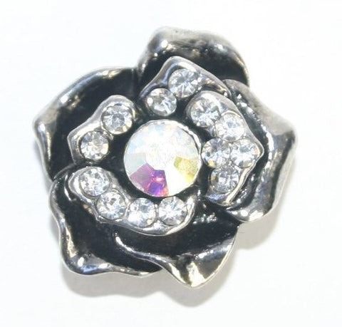 Diva Dot, 3-D Silver Rose with Crystals