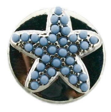 Diva Dot Snap Button, Starfish w/ Blue Beads