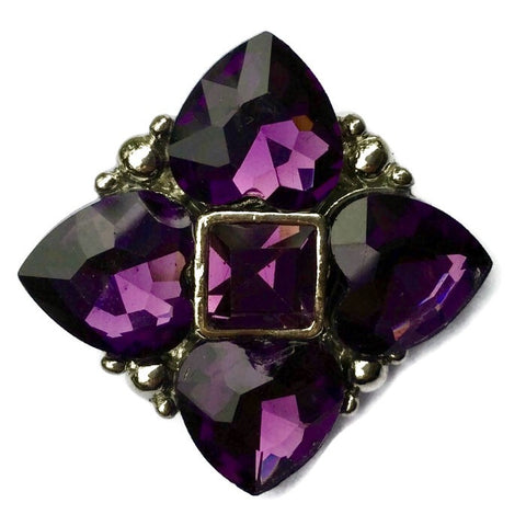 Diva Dot Snap Button, Purple Crystal Square