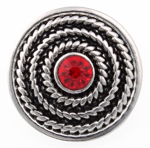 Diva Dot Snap Button, Red Crystal Dot