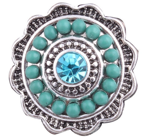 Diva Dot Snap Button, Blue Beads