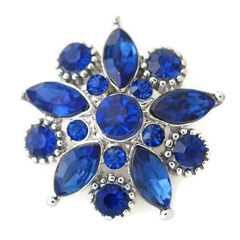 Diva Dot Snap Button, Royal Blue Crystal Flower