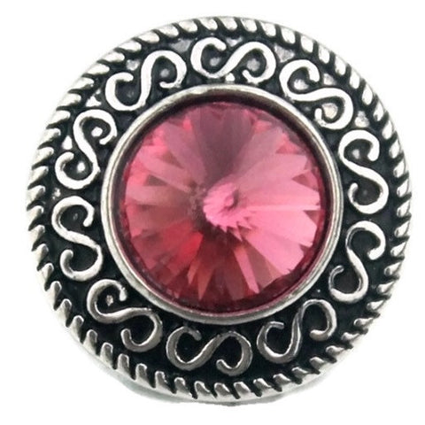 Diva Dot Snap Button, Pink Crystal