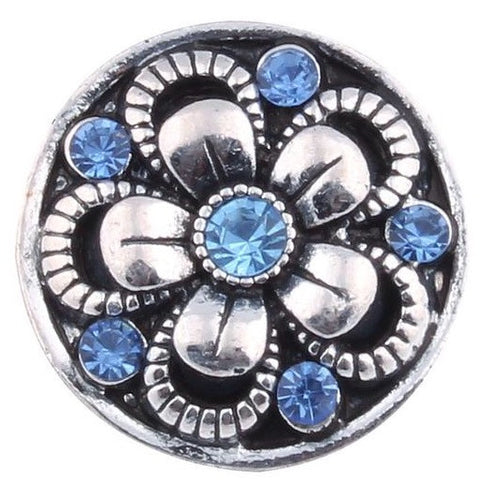 Diva Dot, Silver Flower with Blue Crystals