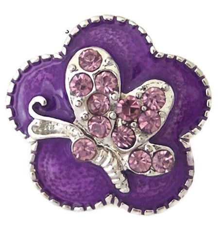 Diva Dot Snap Button, Purple Butterfly