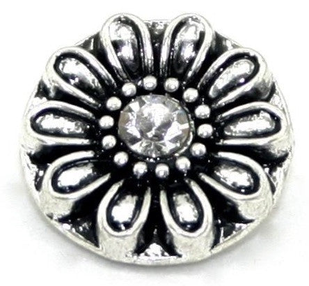 Diva Dot, Silver Flower with Crystal Center