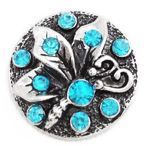 Diva Dot Snap Button, Butterfly With Blue Crystals