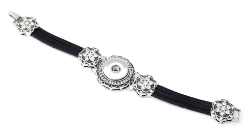 Bracelet, Split Leather with Elegant Bling Embellishments