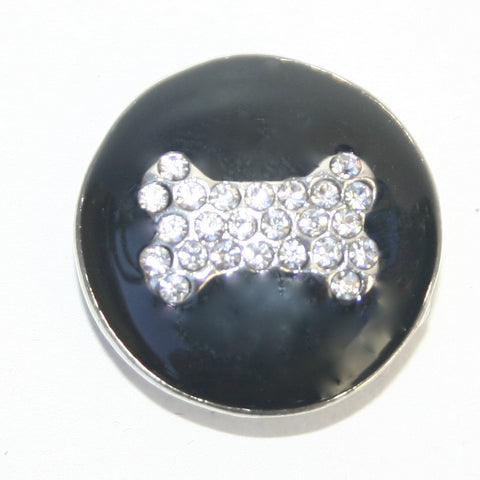 Diva Dot, Dog Bone, Rhinestone with Black Background