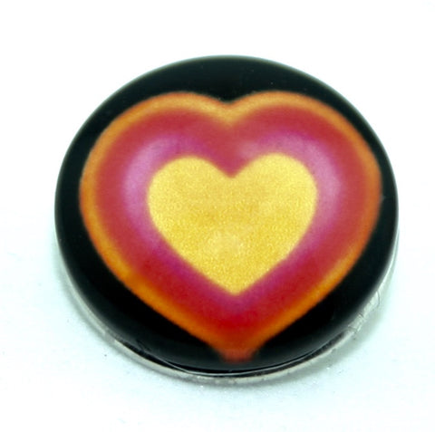 Diva Dot, Heart Orange Red Yellow with Black Background, Glass