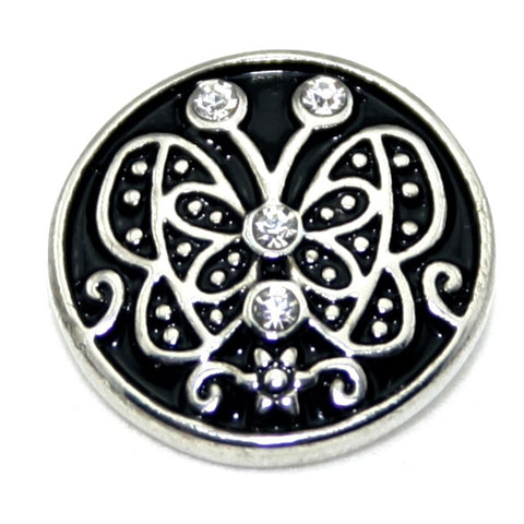 Diva Dot, Butterfly Black and Silver with Crystals