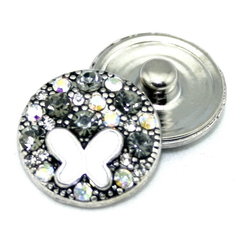 Diva Dot, White Butterfly with Opaque Crystals