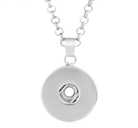 Snap Button Necklace, Back to Basics Pendant, w/ Stainless Steel or Leather Chain