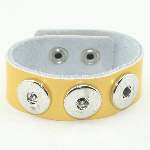 Snap Button Bracelet, Thick Triple Dot Smooth Leather, Yellow
