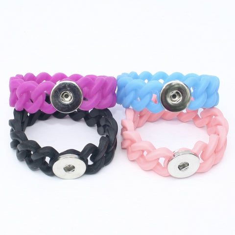 Snap Button Bracelet, Rubber Single Diva Dot