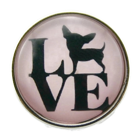 Diva Dot Snap Button, Pink Love Chihuahua