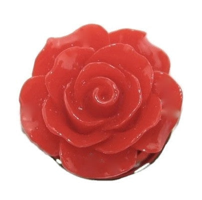 Diva Dot Snap Button, 3-D Red Flower