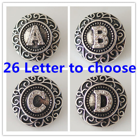 Diva Dot Snap Button Silver Initials w/ Crystals A-Z