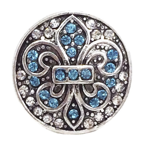 Diva Dot Snap Button, Fleur De Lis w/ Blue Crystals