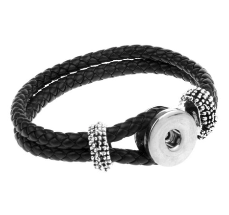 Snap Button Bracelet, Double Strand Braided PU Leather