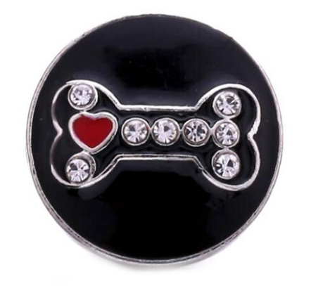 Diva Dot Snap Button, Bone, Black With Crystals