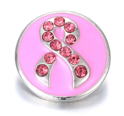 Diva Dot Snap Button, Pink Ribbon With Crystals
