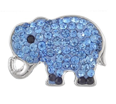 Diva Dot Snap Button, Elephant, Blue Crystals