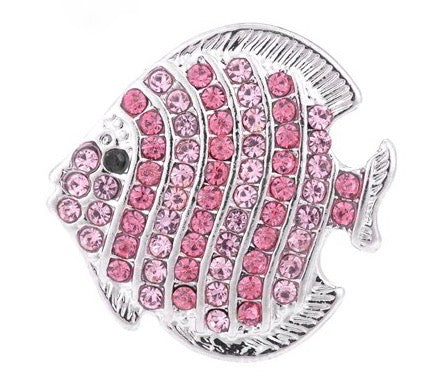 Diva Dot Snap Button, Pink Crystal Fish